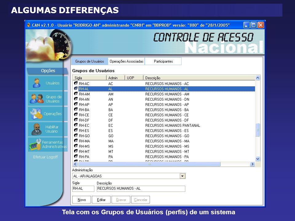 Tela com os Grupos de Usuários (perfis) de um sistema