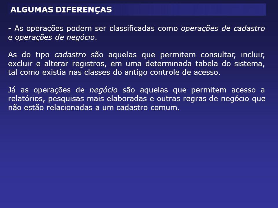ALGUMAS DIFERENÇAS - As operações podem ser classificadas como operações de cadastro e operações de negócio.
