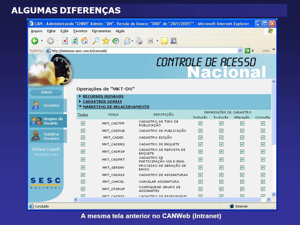 A mesma tela anterior no CANWeb (Intranet)