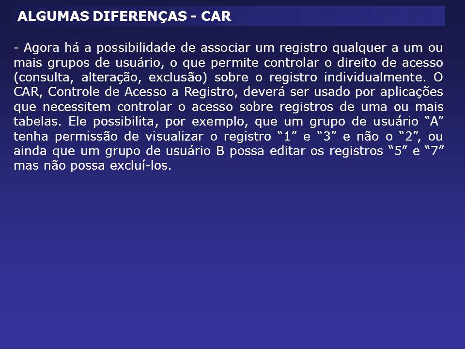ALGUMAS DIFERENÇAS - CAR