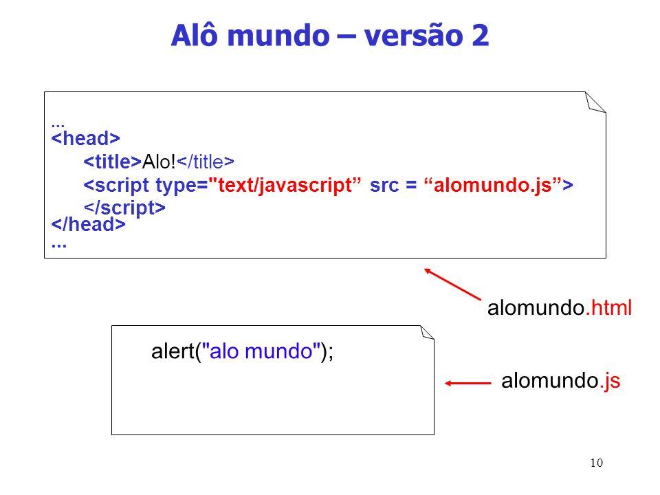 Alô mundo – versão 2 alomundo.html alert( alo mundo ); alomundo.js