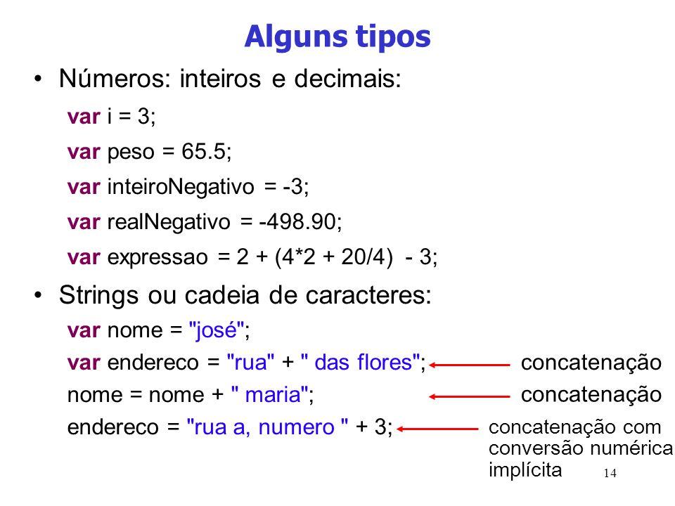Alguns tipos Números: inteiros e decimais: