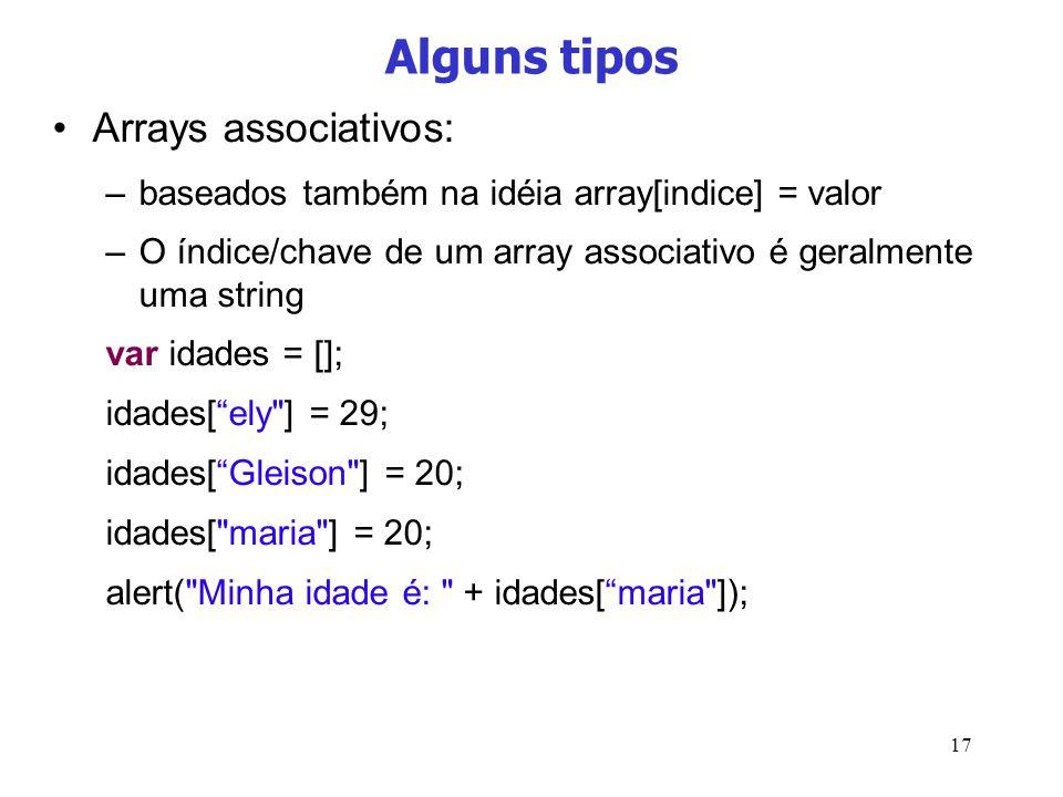 Alguns tipos Arrays associativos: