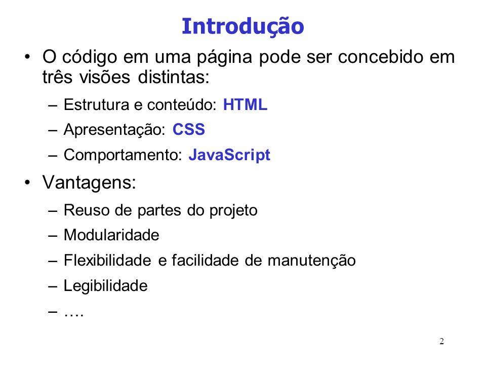 Introdução O código em uma página pode ser concebido em três visões distintas: Estrutura e conteúdo: HTML.