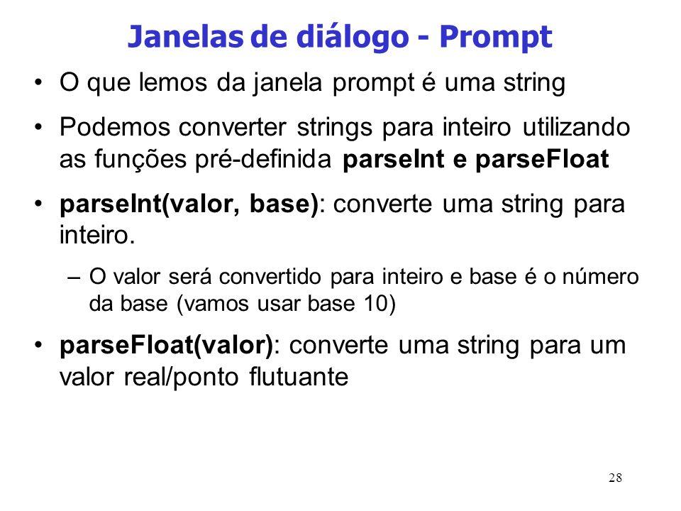 Janelas de diálogo - Prompt