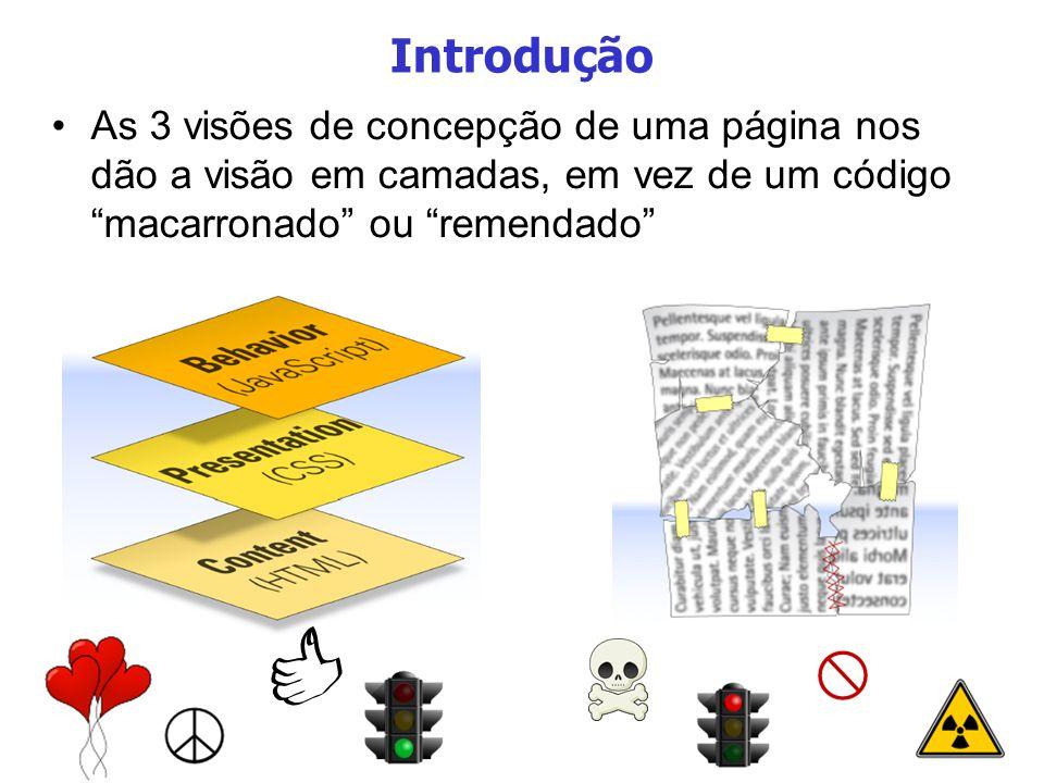 Introdução As 3 visões de concepção de uma página nos dão a visão em camadas, em vez de um código macarronado ou remendado