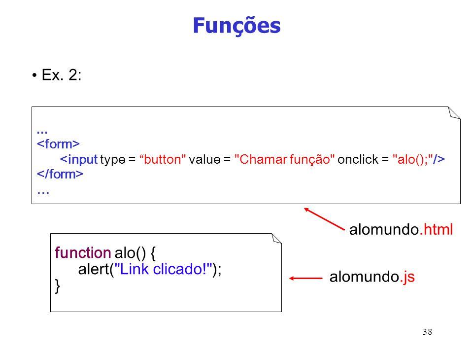 Funções Ex. 2: alomundo.html function alo() { alert( Link clicado! );