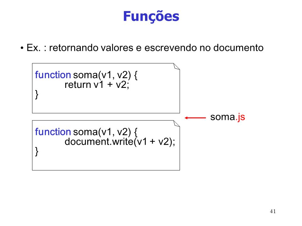 Funções Ex. : retornando valores e escrevendo no documento