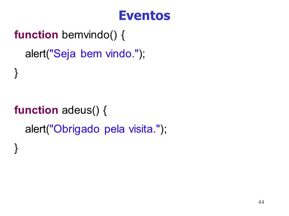 Eventos function bemvindo() { alert( Seja bem vindo. ); }
