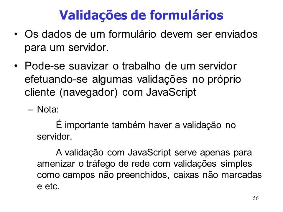 Validações de formulários