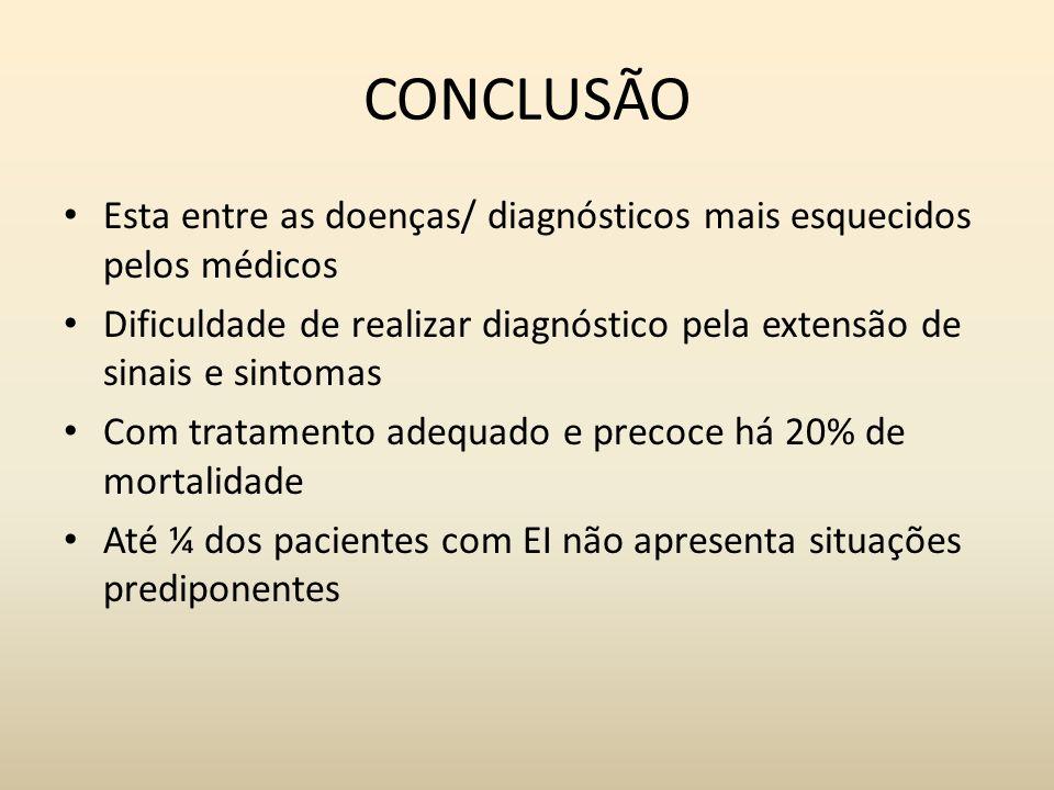 CONCLUSÃO Esta entre as doenças/ diagnósticos mais esquecidos pelos médicos. Dificuldade de realizar diagnóstico pela extensão de sinais e sintomas.