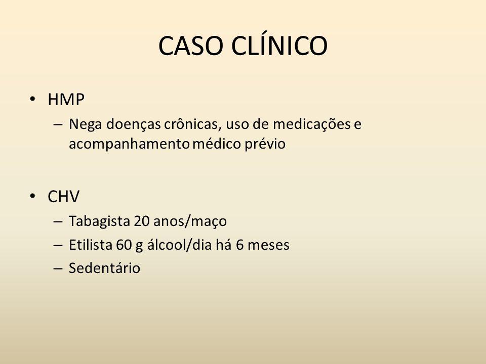 CASO CLÍNICO HMP. Nega doenças crônicas, uso de medicações e acompanhamento médico prévio. CHV. Tabagista 20 anos/maço.