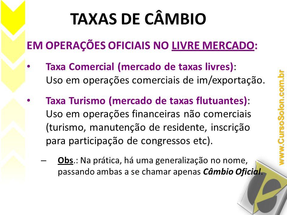 TAXAS DE CÂMBIO EM OPERAÇÕES OFICIAIS NO LIVRE MERCADO: