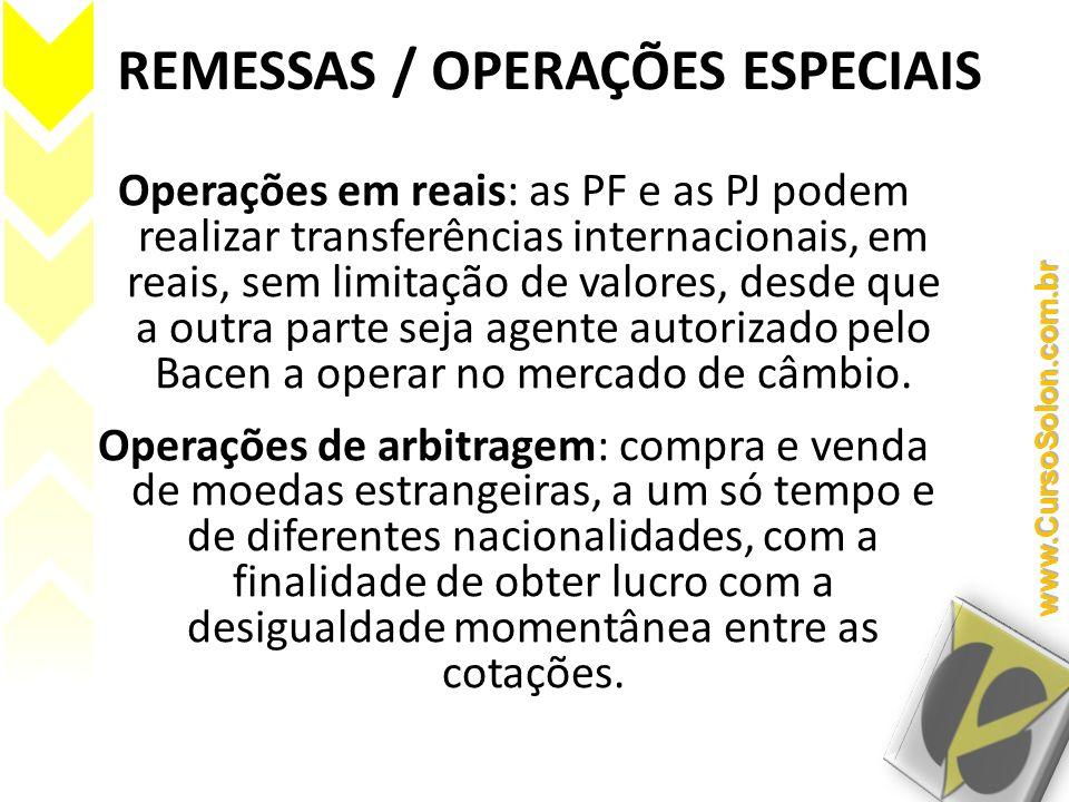 REMESSAS / OPERAÇÕES ESPECIAIS