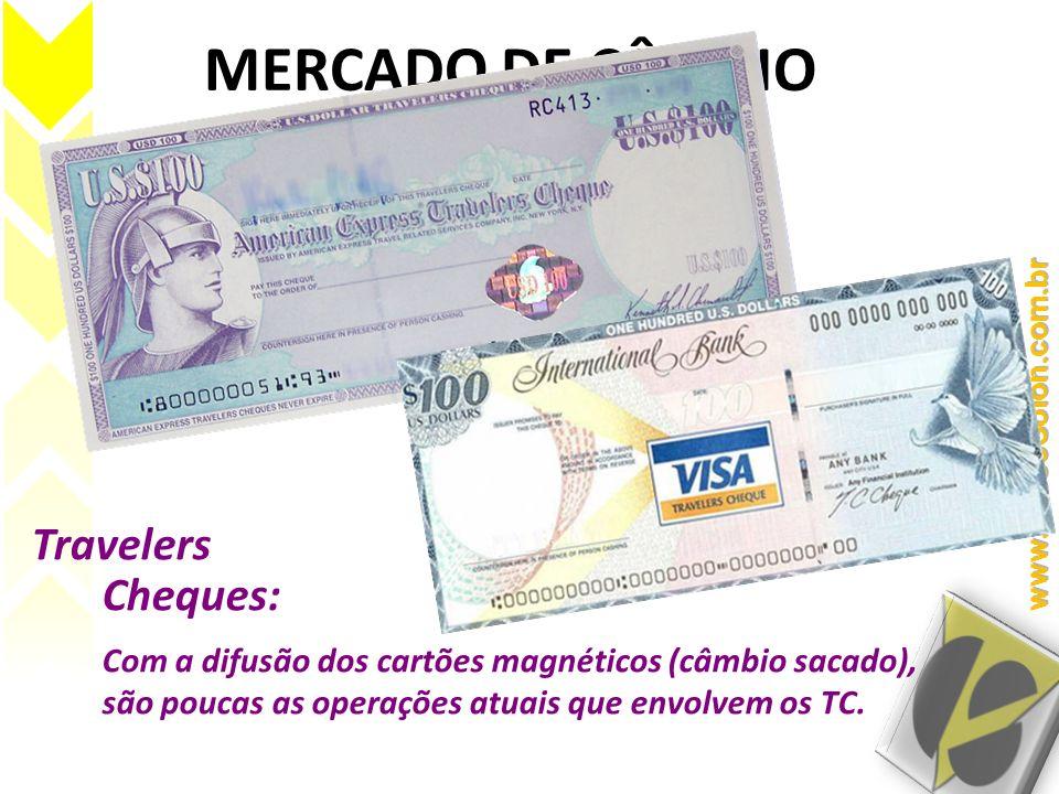 MERCADO DE CÂMBIO Travelers Cheques: Com a difusão dos cartões magnéticos (câmbio sacado), são poucas as operações atuais que envolvem os TC.