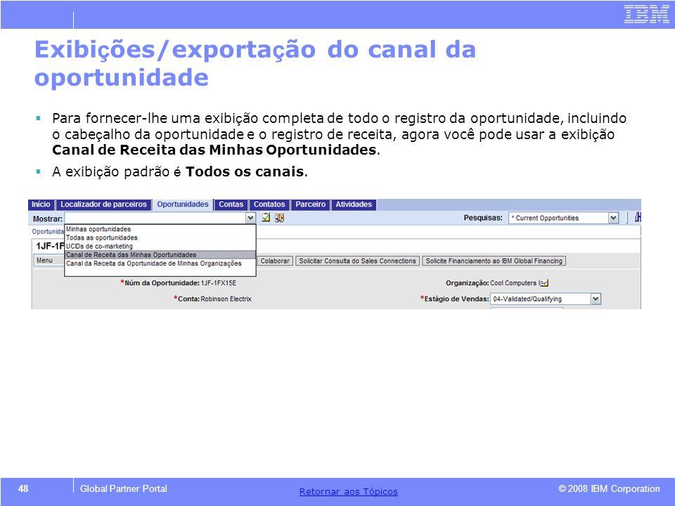 Exibições/exportação do canal da oportunidade