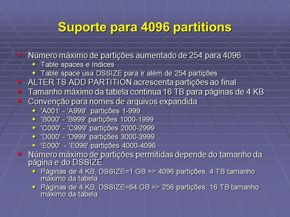 Suporte para 4096 partitions