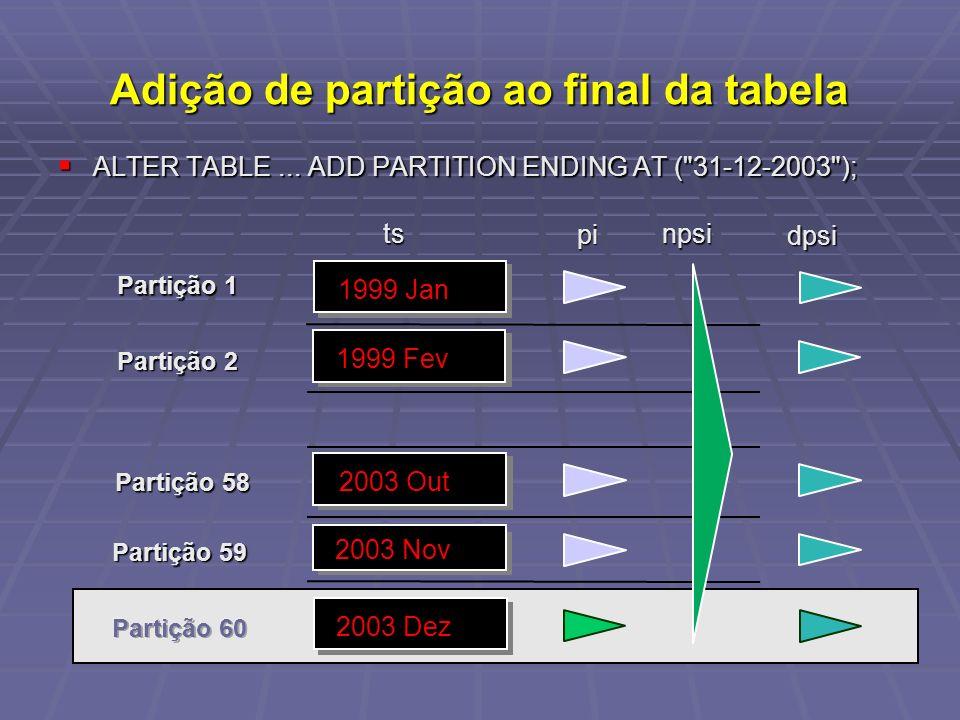 Adição de partição ao final da tabela