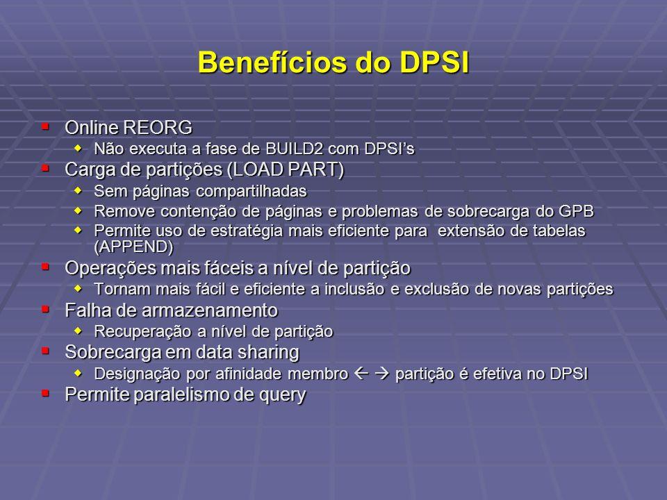 Benefícios do DPSI Online REORG Carga de partições (LOAD PART)