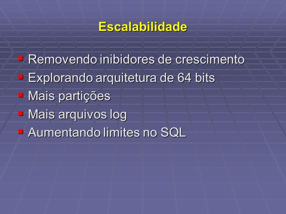 Escalabilidade Removendo inibidores de crescimento. Explorando arquitetura de 64 bits. Mais partições.