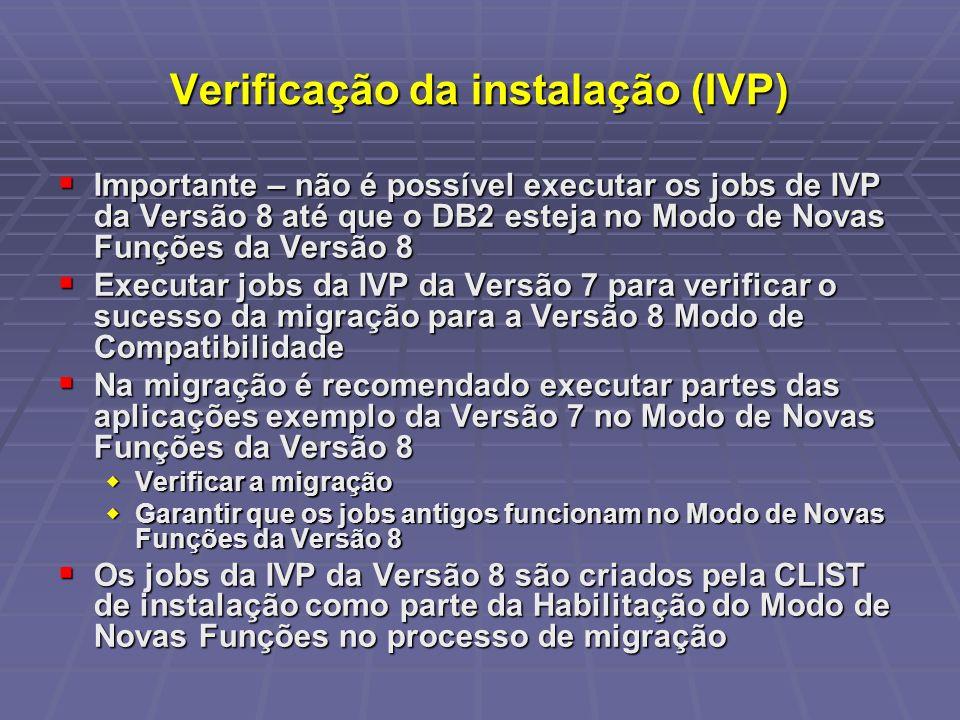 Verificação da instalação (IVP)