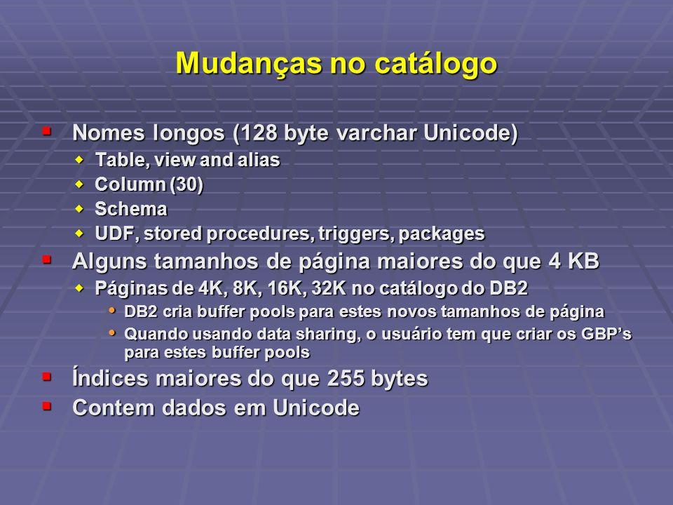 Mudanças no catálogo Nomes longos (128 byte varchar Unicode)