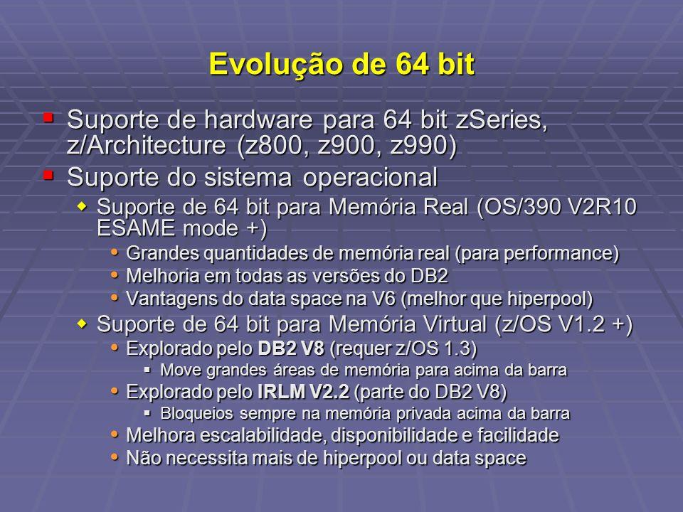 Evolução de 64 bit Suporte de hardware para 64 bit zSeries, z/Architecture (z800, z900, z990) Suporte do sistema operacional.