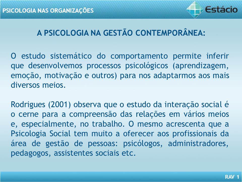 A PSICOLOGIA NA GESTÃO CONTEMPORÂNEA: