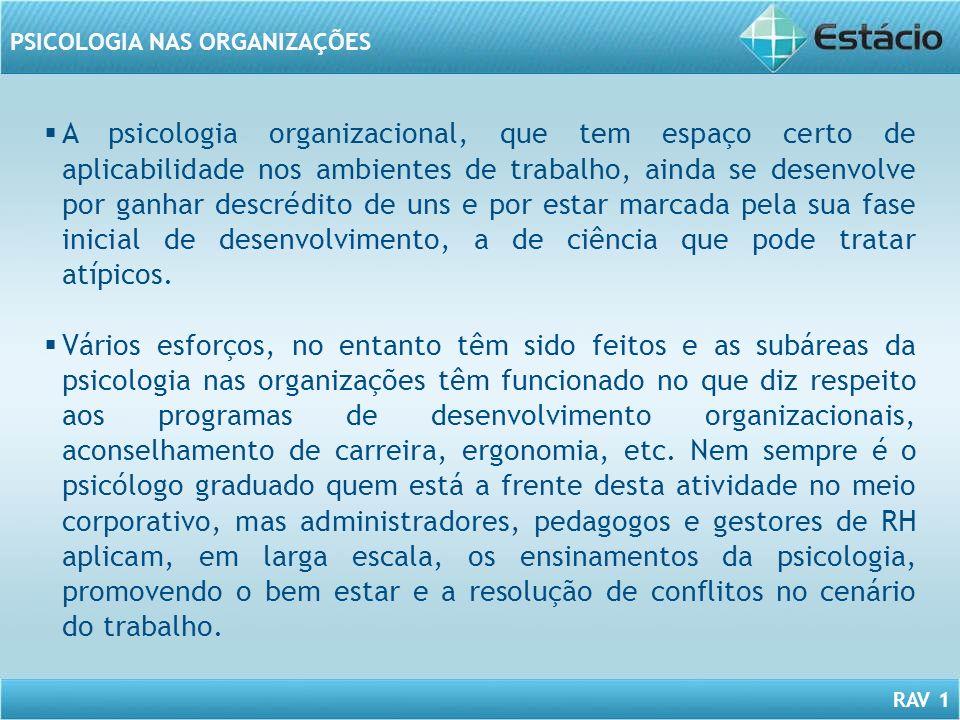 A psicologia organizacional, que tem espaço certo de aplicabilidade nos ambientes de trabalho, ainda se desenvolve por ganhar descrédito de uns e por estar marcada pela sua fase inicial de desenvolvimento, a de ciência que pode tratar atípicos.