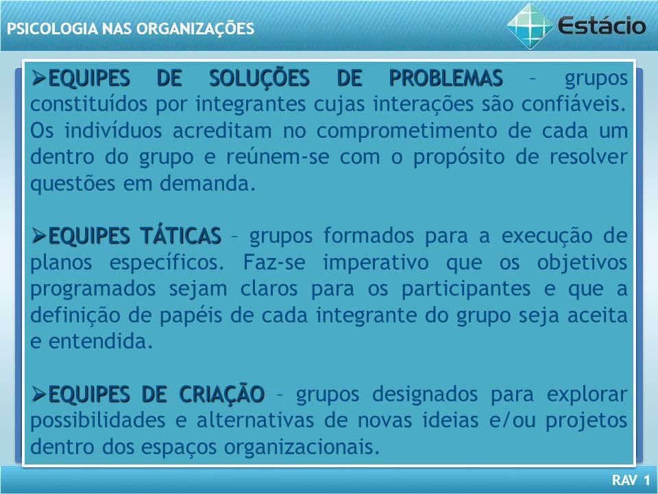 EQUIPES DE SOLUÇÕES DE PROBLEMAS – grupos constituídos por integrantes cujas interações são confiáveis. Os indivíduos acreditam no comprometimento de cada um dentro do grupo e reúnem-se com o propósito de resolver questões em demanda.
