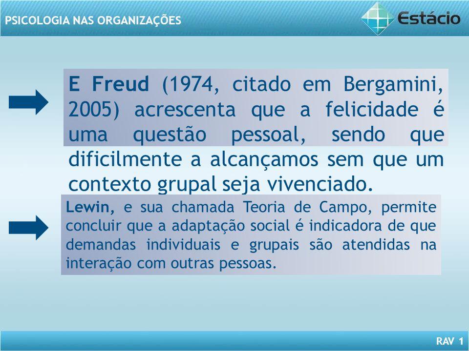 E Freud (1974, citado em Bergamini, 2005) acrescenta que a felicidade é uma questão pessoal, sendo que dificilmente a alcançamos sem que um contexto grupal seja vivenciado.