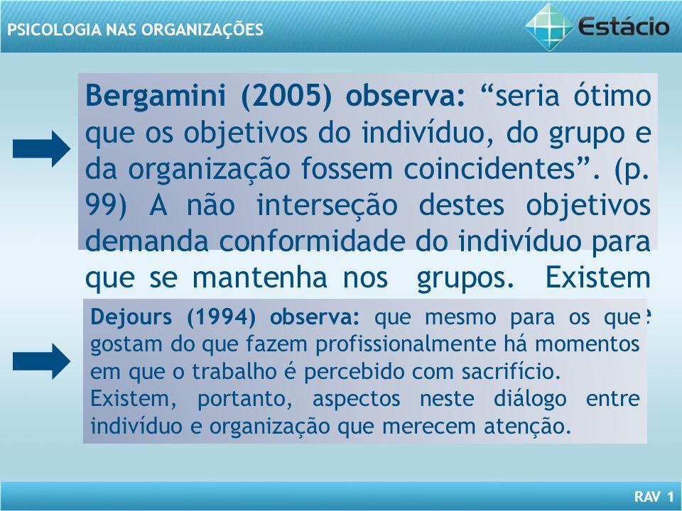 Bergamini (2005) observa: seria ótimo que os objetivos do indivíduo, do grupo e da organização fossem coincidentes . (p. 99) A não interseção destes objetivos demanda conformidade do indivíduo para que se mantenha nos grupos. Existem momentos de experimentação de conflitos.