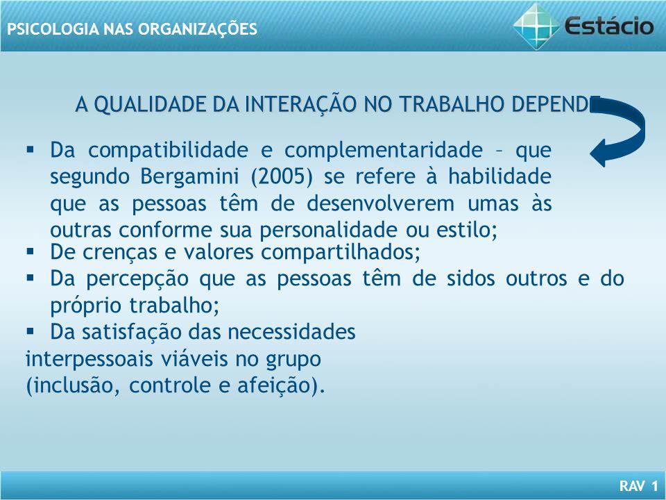 A QUALIDADE DA INTERAÇÃO NO TRABALHO DEPENDE: