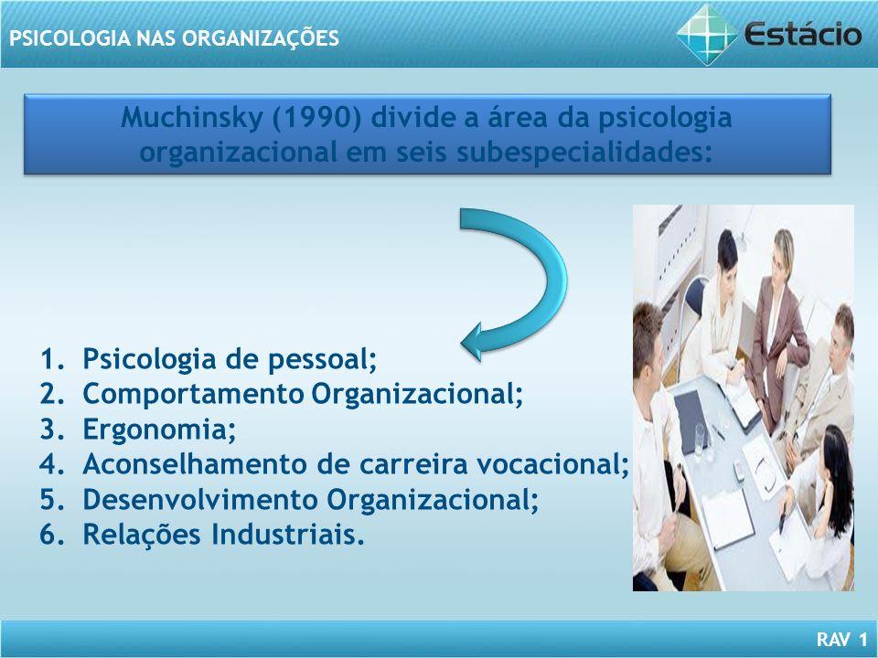 Muchinsky (1990) divide a área da psicologia organizacional em seis subespecialidades: