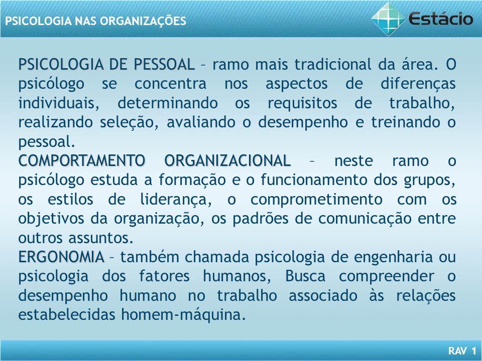 PSICOLOGIA DE PESSOAL – ramo mais tradicional da área