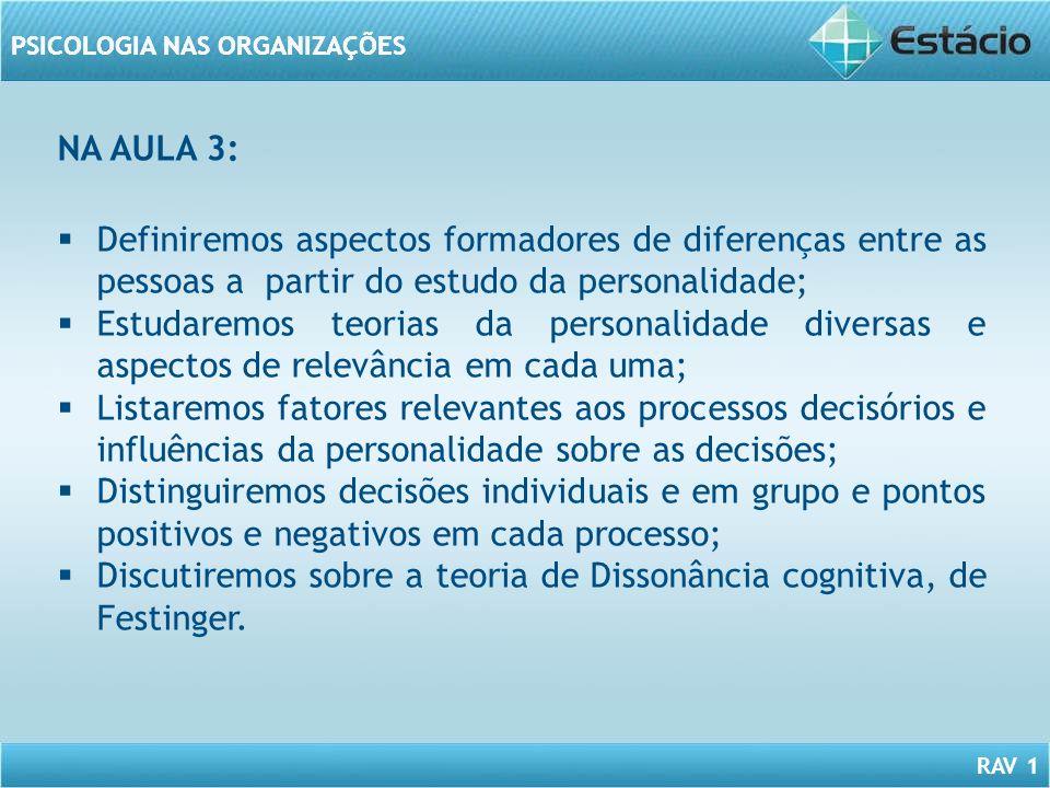 NA AULA 3: Definiremos aspectos formadores de diferenças entre as pessoas a partir do estudo da personalidade;