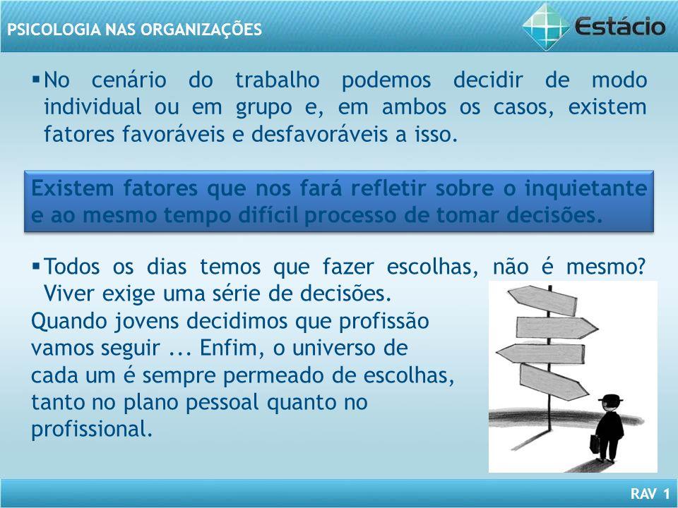 No cenário do trabalho podemos decidir de modo individual ou em grupo e, em ambos os casos, existem fatores favoráveis e desfavoráveis a isso.