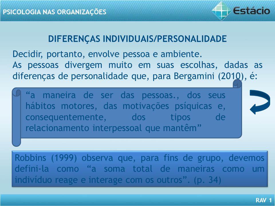 DIFERENÇAS INDIVIDUAIS/PERSONALIDADE