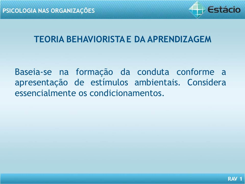 TEORIA BEHAVIORISTA E DA APRENDIZAGEM