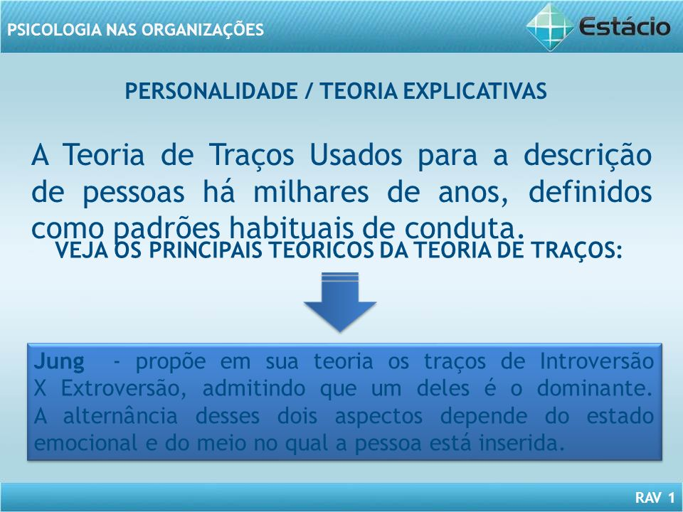 PERSONALIDADE / TEORIA EXPLICATIVAS