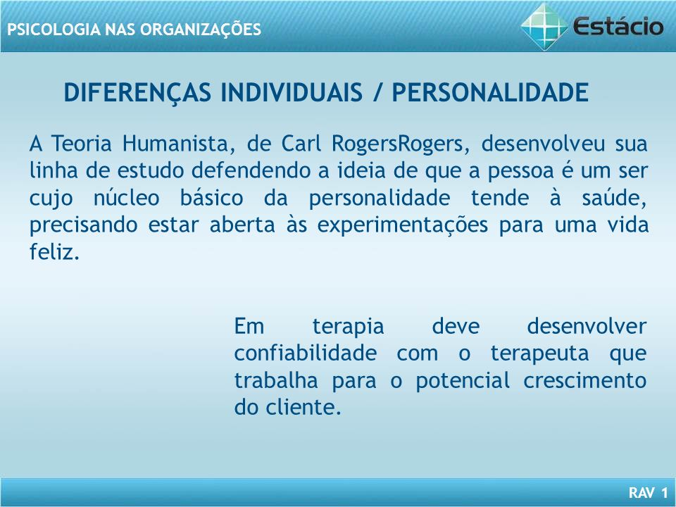 DIFERENÇAS INDIVIDUAIS / PERSONALIDADE
