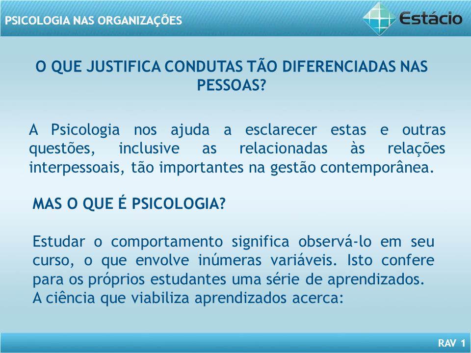 O QUE JUSTIFICA CONDUTAS TÃO DIFERENCIADAS NAS PESSOAS