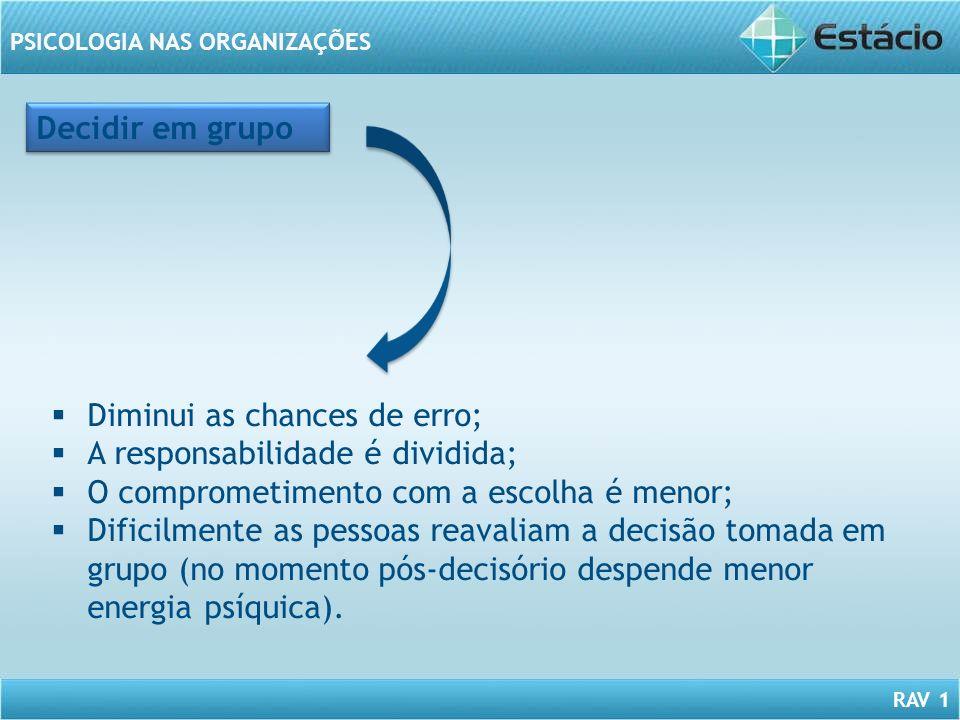 Decidir em grupo Diminui as chances de erro; A responsabilidade é dividida; O comprometimento com a escolha é menor;