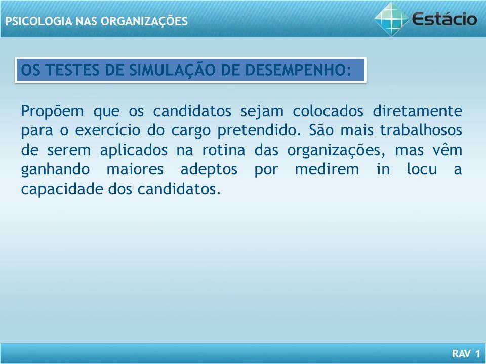 OS TESTES DE SIMULAÇÃO DE DESEMPENHO: