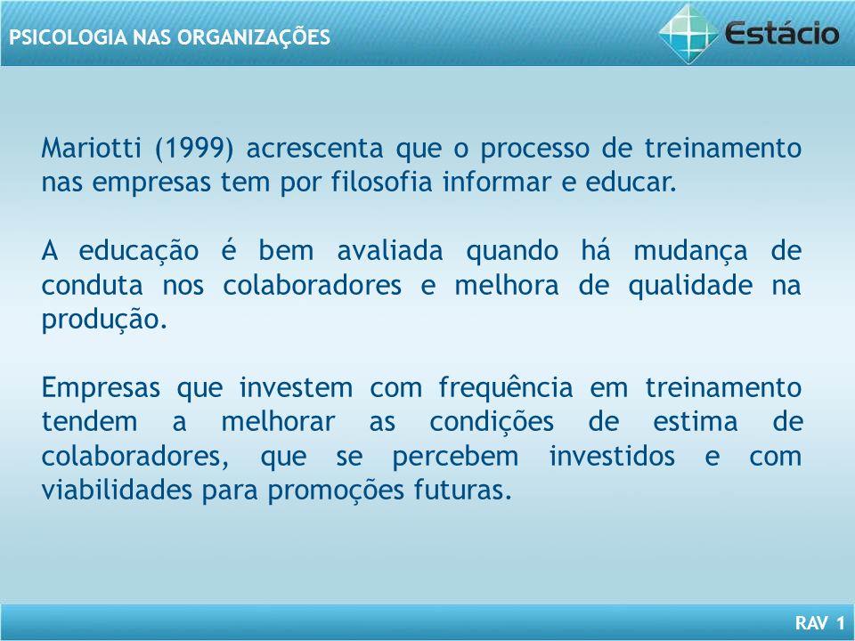 Mariotti (1999) acrescenta que o processo de treinamento nas empresas tem por filosofia informar e educar.
