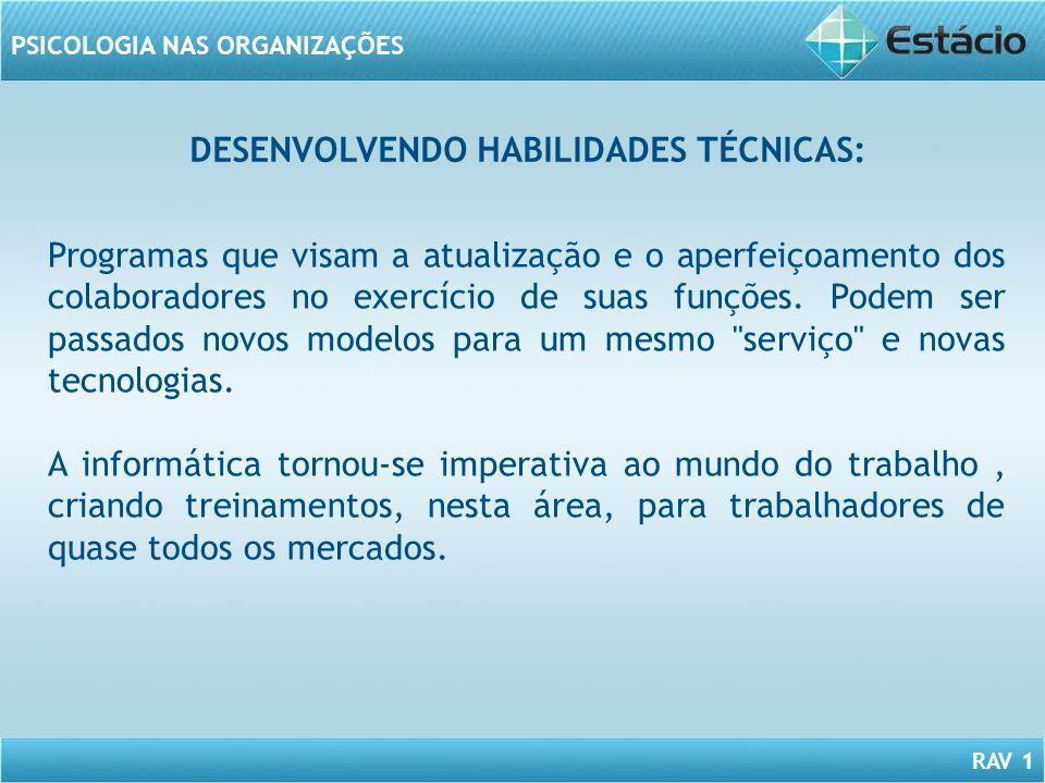 DESENVOLVENDO HABILIDADES TÉCNICAS: