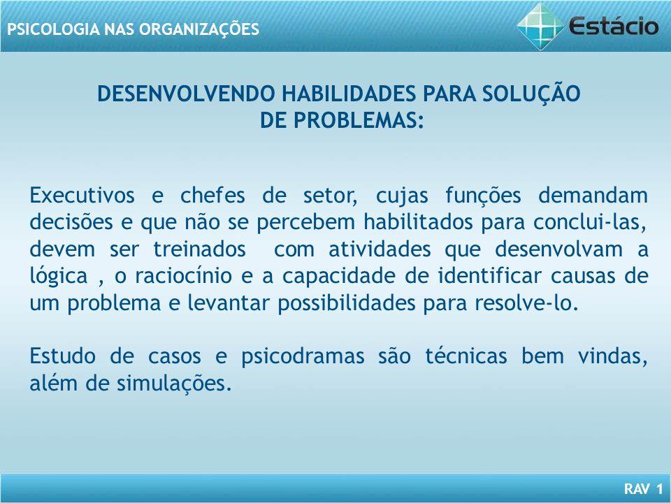 DESENVOLVENDO HABILIDADES PARA SOLUÇÃO