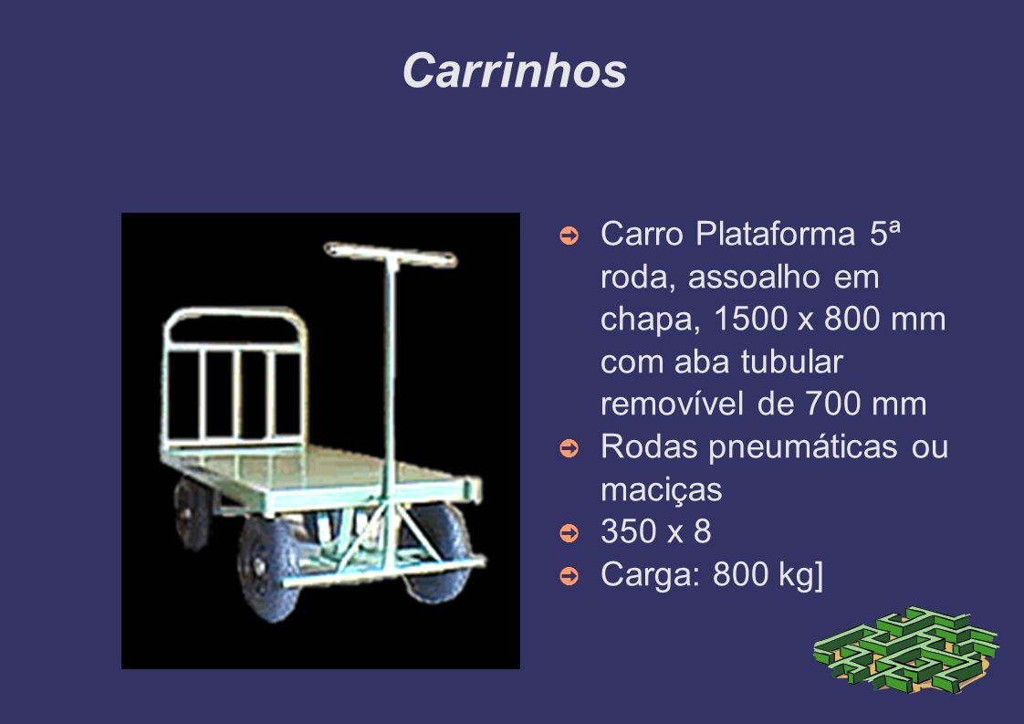 CarrinhosCarro Plataforma 5ª roda, assoalho em chapa, 1500 x 800 mm com aba tubular removível de 700 mm.