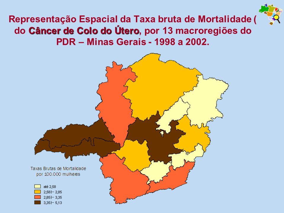 Representação Espacial da Taxa bruta de Mortalidade ( do Câncer de Colo do Útero, por 13 macroregiões do PDR – Minas Gerais - 1998 a 2002.