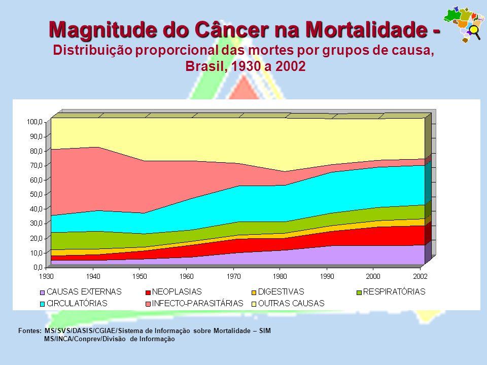 Magnitude do Câncer na Mortalidade - Distribuição proporcional das mortes por grupos de causa, Brasil, 1930 a 2002